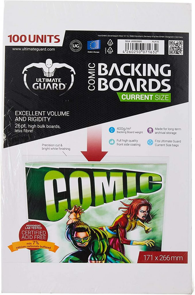 Backing boards para proteger y almacenar cómics